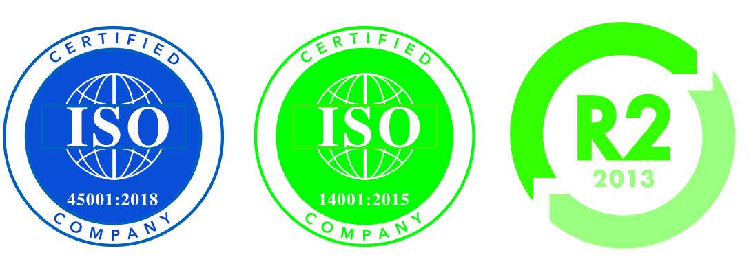 ISO 14001, 45001, and R2 certified
