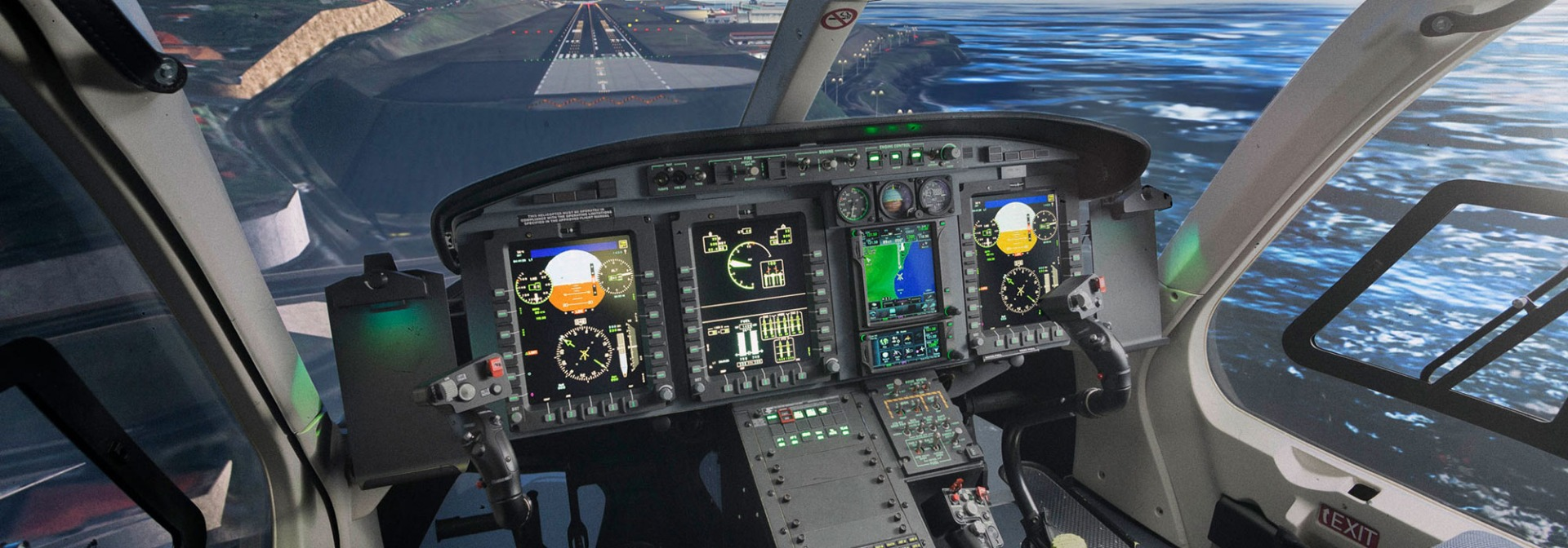 Pilot controls in avionics helicopter with rugged LCD control panel and night vision compliant design