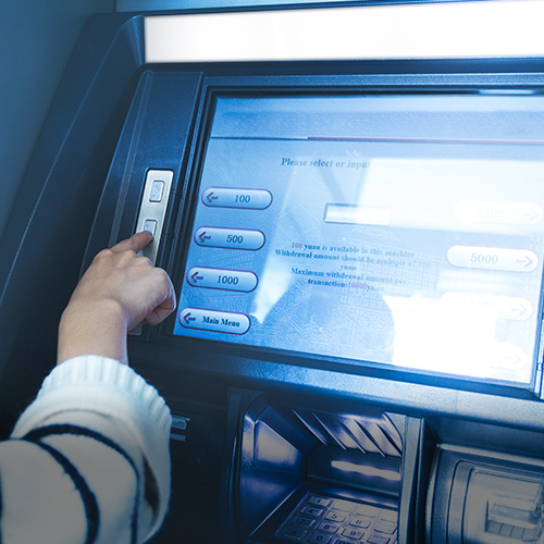 Indoor and outdoor financial touchscreen kiosk for the banking industry