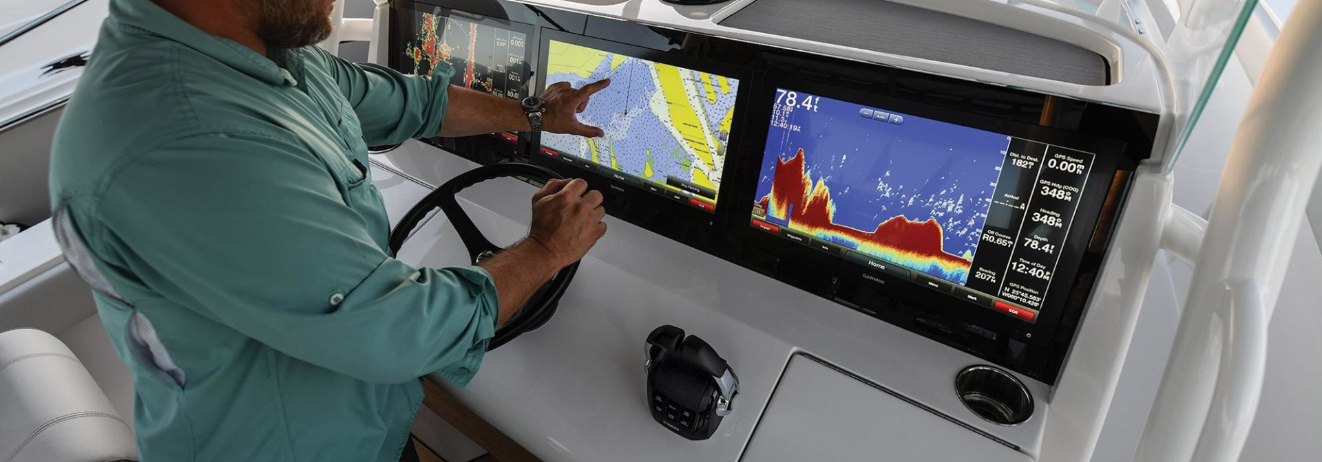 IP rated and NEMA rated LCD displays on a marine boat, touchscreen control panel