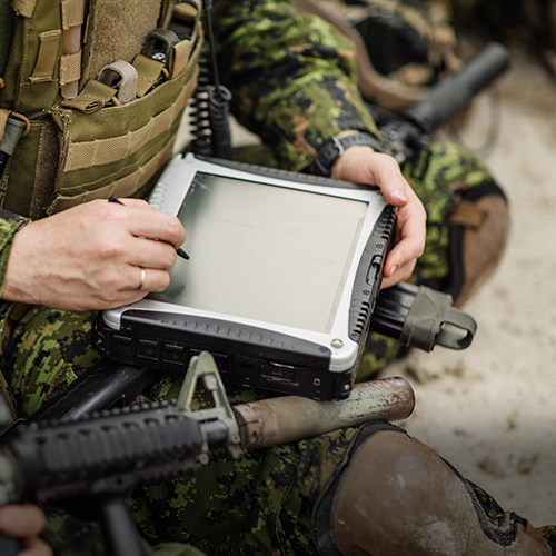 Soldier with ruggedized, night vision compatible LCD for military industry
