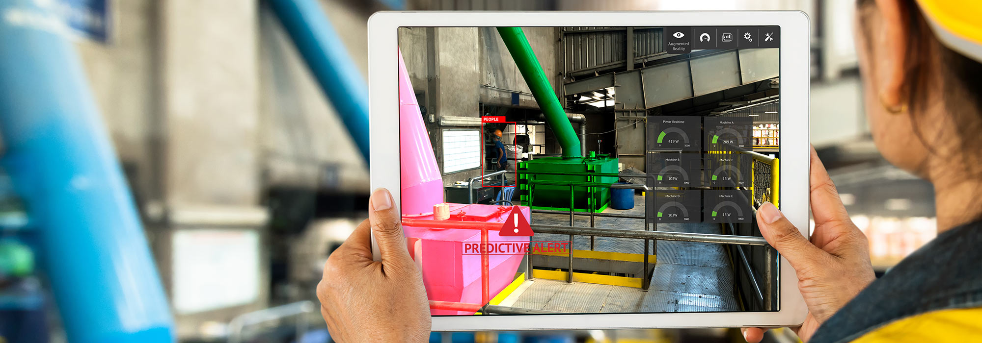 LCD display touch screen tablet at manufacturing facility