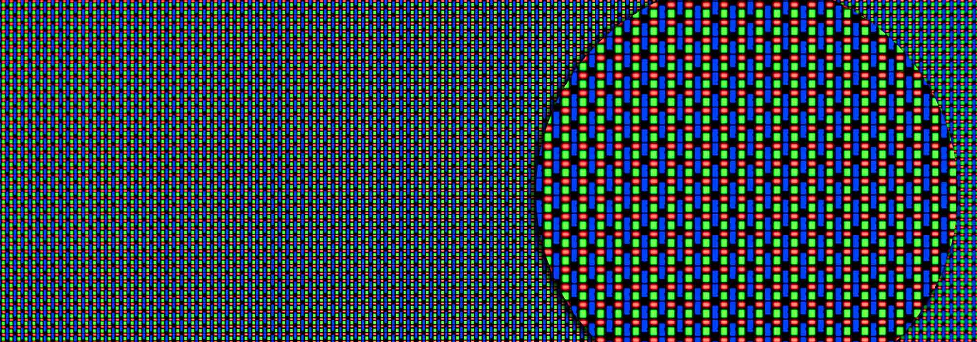 Close up of pixels on an LCD display